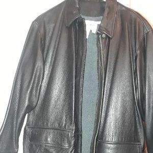 GENUINE LEATHER black coat